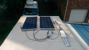 Mounted and Connected Solar Panels