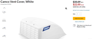 Camco RV Vent Cover on Camping World